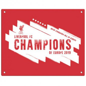 FC Liverpool cedule na zeď Champions Of Europe Metal Sign