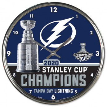 Tampa Bay Lightning hodiny 2020 Stanley Cup Champions Chrome Clock