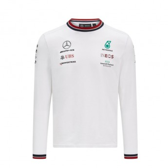 Mercedes AMG Petronas pánské tričko s dlouhým rukávem White F1 Team 2021