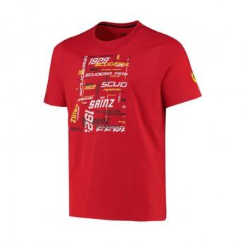 Ferrari pánské tričko Sainz Driver red F1 Team 2021