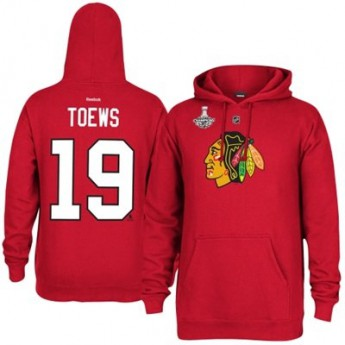 Chicago Blackhawks pánská mikina s kapucí red #19 Jonathan Toews - 2015 Stanley Cup Champions Player Hoodie
