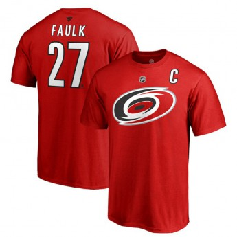 Carolina Hurricanes pánské tričko red #27 Justin Faulk Stack Logo Name & Number
