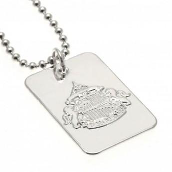 Sunderland řetízek na krk se psí známkou Silver Plated Dog Tag & Chain