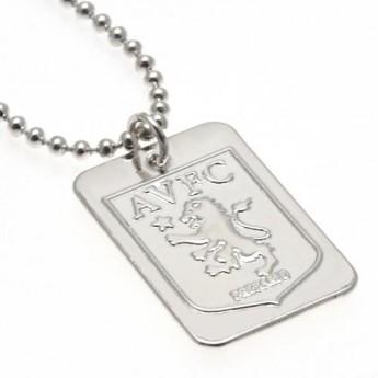 Aston Villa řetízek na krk se psí známkou Silver Plated Dog Tag & Chain