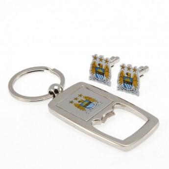 Manchester City set otvírák a manžetové knoflíčky Cufflinks & Keyring Bottle Opener Set