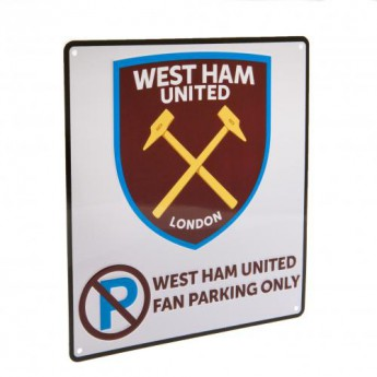West Ham United kovová značka No Parking Sign