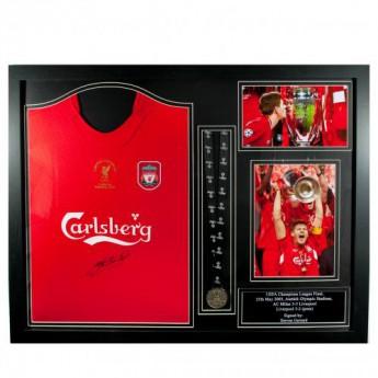 Legendy zarámovaný dres FC Liverpool Gerrard Signed Shirt Istanbul (Framed)