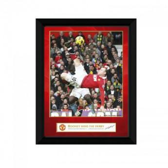 Manchester United obrázek v rámečku Rooney Derby Goal 8 x 6