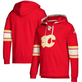 Calgary Flames pánská mikina s kapucí red Adidas Jersey Lace-Up Pullover Hoodie