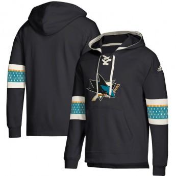 San Jose Sharks pánská mikina s kapucí black Adidas Jersey Lace-Up Pullover Hoodie