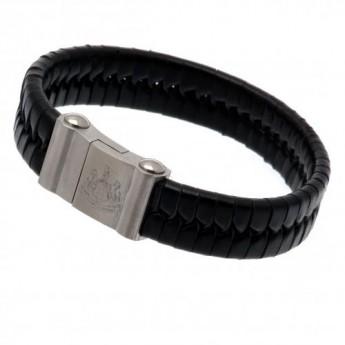 Manchester United kožený náramek Single Plait Leather Bracelet