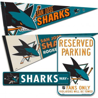 San Jose Sharks fanouškovský set pennant Reserved Parking Sharks Way